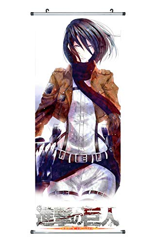 CoolChange Großes Attack on Titan Rollbild | Kakemono aus Stoff | Poster 100x40cm | Levi & Mikasa Ackermann, Staffel 3 (Mikasa Ackermann)