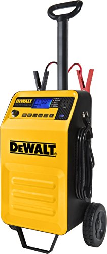 DEWALT DXAEC210 70 Amp Rolling Battery Charger: 210 Amp Engine Start, 2 Amp Maintainer, 120V AC Outlet, 3.1A USB Port, Battery Clamps