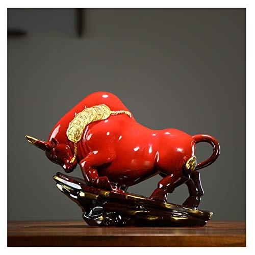 wanhaishop Desktop-Dekorationen Kreative Glückwindbüffel Möbel Tier Bully Maskottchen Büro Wohnzimmer Unternehmen Möbel Ornamente (Color : A)