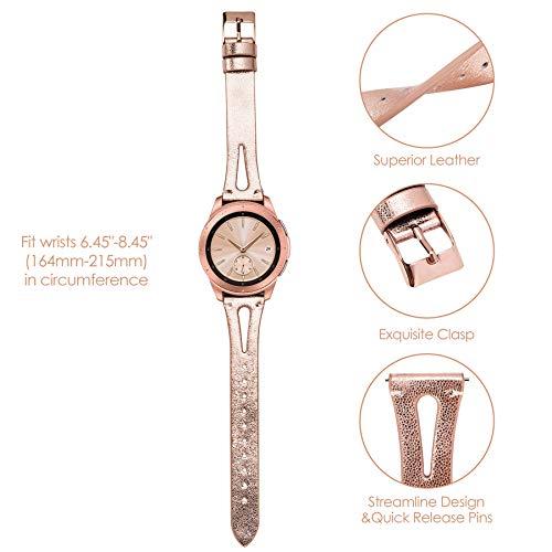 Ownaco Leder Armband Kompatibel mit Samsung Galaxy Watch 42mm Uhrenarmband Frauen Männer 20mm Echtleder Armband Ersatz für Galaxy Active 2 40mm 44mm (20mm Breite, Rose Gold)