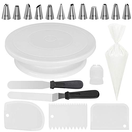 Kootek 69 Pcs Cake Decorating Tools Supplies with Cake Turntable, 50 Disposable Pastry Bags, 12 Piping Tips, 2 Icing Spatula, 3 Icing Smoother and 1 Coupler, Basic White