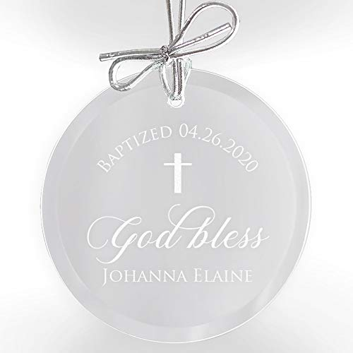 Lifetime Creations Personalized Baptism Ornament - Engraved Glass Baptism Christening Ornament with Bow and Gift Box, Baptism Suncatcher, Gift for Godchild