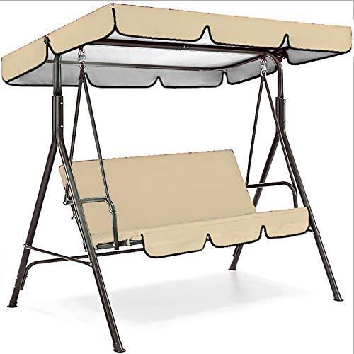 JX-PEP Caballo del Asiento de Swing, Silla de Swing de Patio al Aire Libre Banco de jardín de Tumbona Hamaca de Hamaca Cama Convertible Tilt Canopy con cojín,Beige,142 * 120 * 18cm