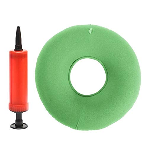 SangZhong 34 * 12 Cm Round Seat Inflatable Ring Cushion Medical Hemorrhoid Pillow Donut Pump Rubber Inflatable Seat Pad (Color : Green)