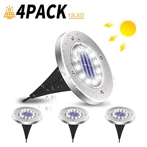 SUNGYIN Solar Bodenleuchten 12 LEDS Solarleuchten Solarlampen Gartenleuchten für Außen, 6000K Kaltweiß Solarlicht Garten Licht, IP65 Wasserdicht für Rasen, Patio, Hof, 4er Pack
