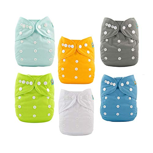 ALVA Baby Lot de 6couches en tissu ajustables et lavables + 12inserts