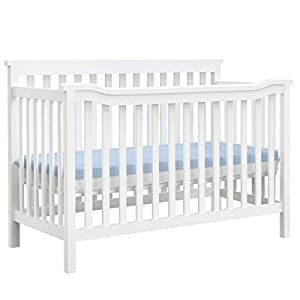 Dourxi 3-in-1 Convertible Crib, Toddler Bed with 3 Adjustable Mattress Height, Made of Real Eco Pine Wood, Strong Slat, Easy Assembly, Non-Toxic Full Size Standard Crib – White