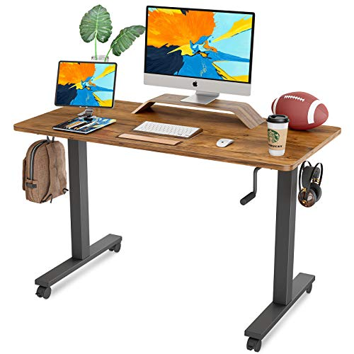 FAMISKY Crank Adjustable Height Standing Desk, 48 x 24 Inches Manual Stand Up Desk, Sit Stand...