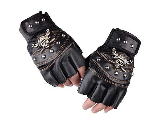 Univsal guantes de piel sintética sin dedos para hombres y mujeres, calaveras, remaches, guantes de hip hop para gimnasio, motocicleta, guantes de medio dedo para hombre