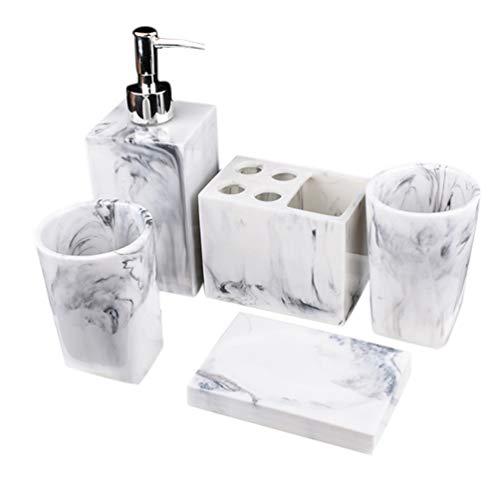 5 Pezzi Set da Bagno Modello In Marmo Elegante Design Semplice da Bagno Contatore Top Set Accessori Liquido Dispenser Portasapone Portaspazzolini