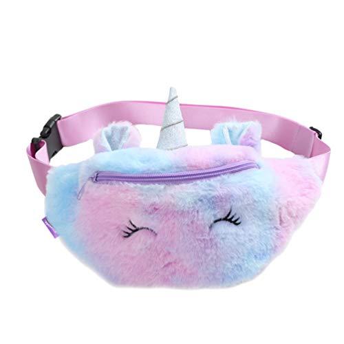 Fenical Gürteltasche Mädchen Einhorn Plüsch Hüfttasche süße kleine Brusttasche Cartoon Schlinge Reisetasche für Baby Kinder Mädchen - violett