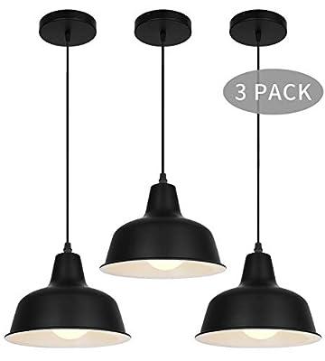 Black Industrial Pendant Lights Vintage Farmhouse Hanging Ceiling Light Fixtures for Kitchen Island Dinning Room Bedroom Living Room Foyer (Three Pack)