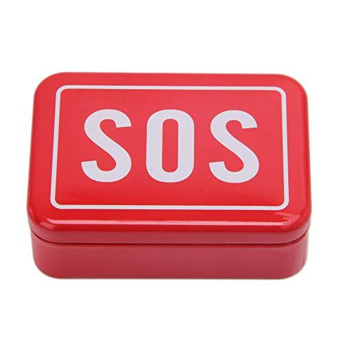 Buwei Caja de Lata SOS Recipiente con Tapa para Equipos de Supervivencia Caja de Pastillas de Primeros Auxilios