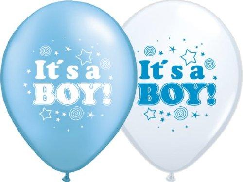 partydiscount24 Luftballons Geburt: It's a Boy (Junge) - Blau, Weiß - Ø 30 cm 10 Stück