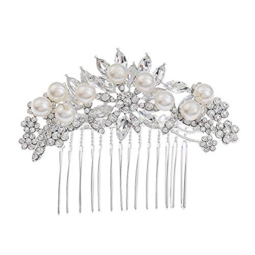 Frcolor Braut Haarkamm Simulierte Perle Hochzeit Braut Haarkamm für Hochzeit Haarschmuck (Silber)