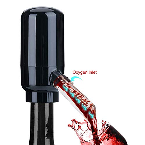 CIRCLE JOY Electric Wine Aerator, Battery Powered Wine Dispenser Pump, Automatic Wine Pourer, Instant Wine Decanter, One-Touch Wine Oxidizer with Silicone Tube, Black