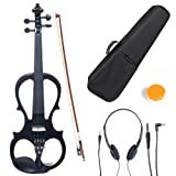 Cecilio 4/4 CEVN-1BK Solid Wood Electric/Silent Violin with Ebony Fittings in Style 1 - Full Size - Black Metallic
