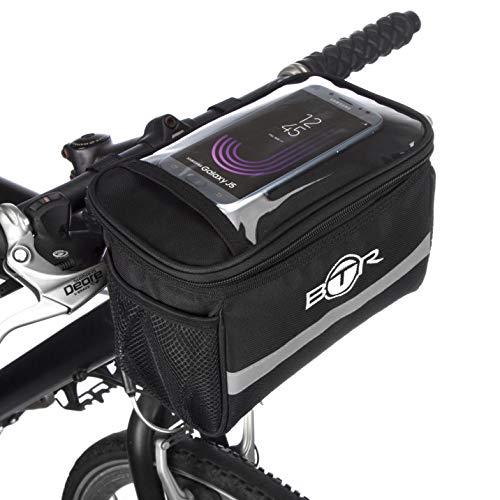 Wasserabweisende BTR-Fahrradtasche und Handyhalterung mit durchsichtigem PVC-Fenster für Tablet oder Handy, zur Befestigung am Lenker bzw. Steuer- oder Oberrohr für Karten und Navigationssysteme. Recycelbare Verpackung