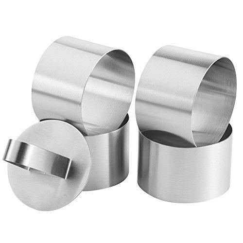 Lot de 4 Acier inoxydable anneaux à dessert plates anneaux avec 4 anneaux et 4 anneaux à gâteaux Stamper Petit Ø 7,5 cm Hauteur : 4 cm Pâtisserie OUTILS
