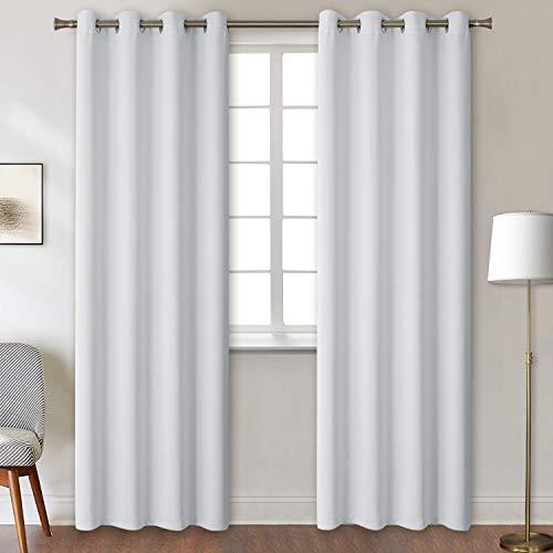 BGment Verdunklungsvorhänge mit Ösen für Schlafzimmer Blickdichte Vorhänge Energiespar & Wärmeisolierend Thermo Gardinen für Wohnzimmer, Grau-weiß, 245 x 140 cm (H x B), 2 Stück