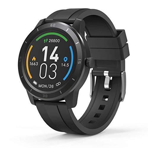 Hama Smartwatch 6900, GPS, wasserdicht (Fitnesstracker für Herzfrequenz/Kalorien, Sportuhr mit Schrittzähler, Schlafmonitor, Musik-/Kamerasteuerung, Fitness Armband Damen/Herren, 5 Tage Akku) Schwarz