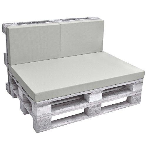Beautissu Rückenkissen ECO Pure 2-TLG Palettenkissen Palettenauflage Polster für Europaletten 120x40x8 cm in Hell-Grau & div Farben wählbar