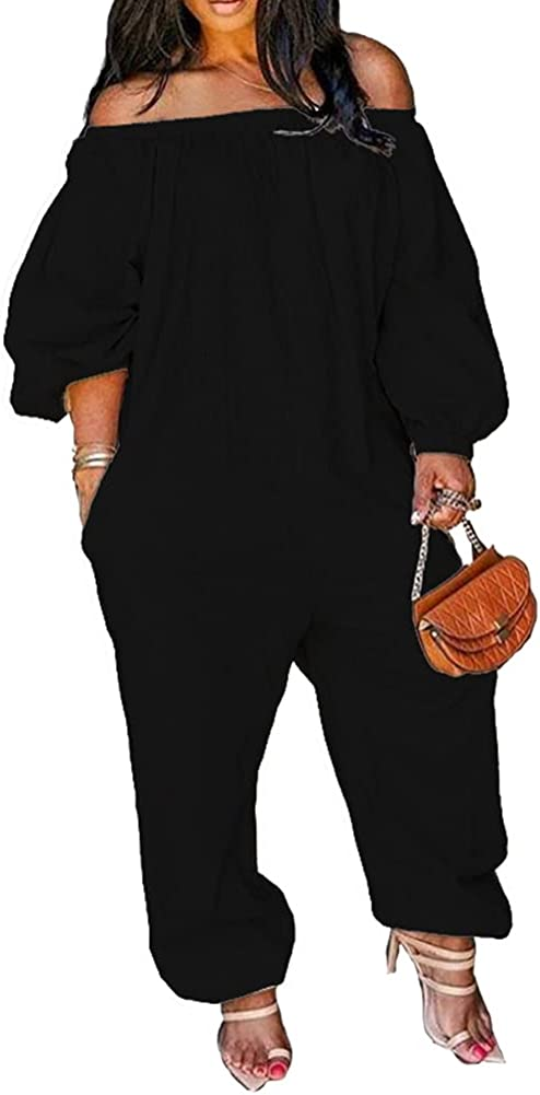 Flyswiner Women's Plus Size Jumpsuit Off Shoulder Loose Long Sleeve Romper with Pockets