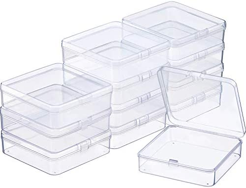 SATINIOR 12 Pack Clear Plastic Beads Storage Containers Box with Hinged Lid for Beads and More (3.70 x 3.70 x 1.18 Inch)
