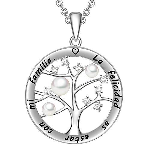 LOVORDS Collar Mujer Grabado Plata de Ley 925 Colgante Árbol de la Vida Familiar Perla Cultivada Blanca de Agua Dulce 3-4mm Regalo Madre Mamá Esposa Novia Abuela Hija