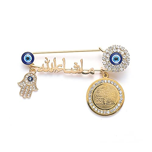 XiaoG Quran Muslim Islam Mashallah in Arabic Four Qul Suras Hamsa Hand of Fatima Turkish Evil Eye Brooch Pins (Color : Gold)