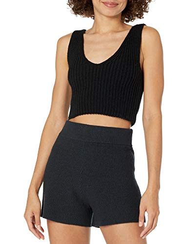 The Drop Women's Sylvie Double V-Neck Textured Rib Cropped Sweater Tank