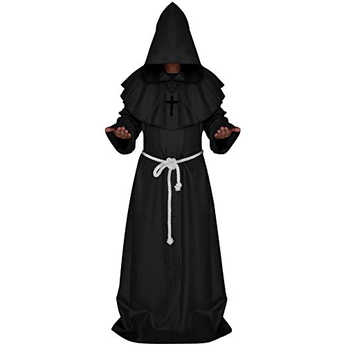 LETSQK Men's Friar Medieval Hooded Monk Priest Robe Tunic Halloween Cosplay Costume (L, Black)