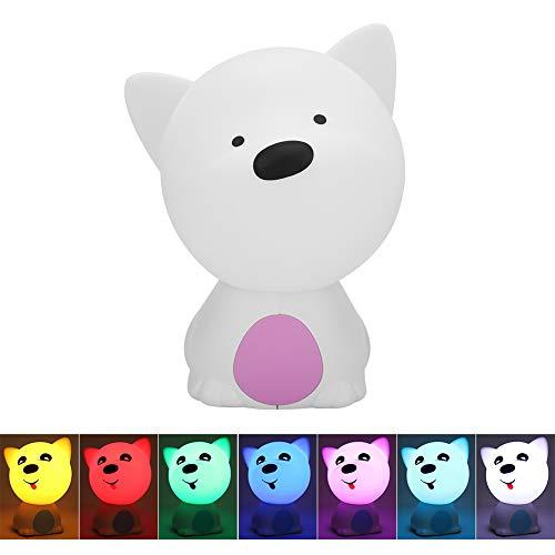 HYM Lindo perrito forma silicona multicolor LED recargable noche lámpara mini lectura púrpura