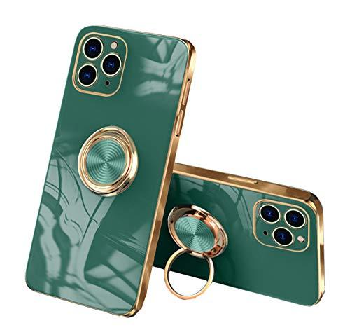 通用 Funda para iPhone 11 Pro/12 Pro Apple,Fundas iPhone 11 Pro/12 Pro Silicona TPU Compatible Case Soporte Armor Antigolpes Carcasa con Posterior Magnético Iman (iPhone 11 Pro, Verde Oscuro)