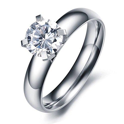 Paialco Jewelry Anillo de compromiso solitario de acero de titanio con circonita cúbica blanca de 1 quilate, #5