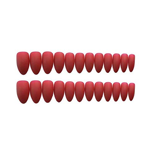 TJJF 24 Pcs Ins Couverture Complète Pointe Pointue Gommage Rouge Tempérament Frais Mat Faux Ongles Portable Stiletto Faux Appuyez Sur Les Ongles Avec De La Colle