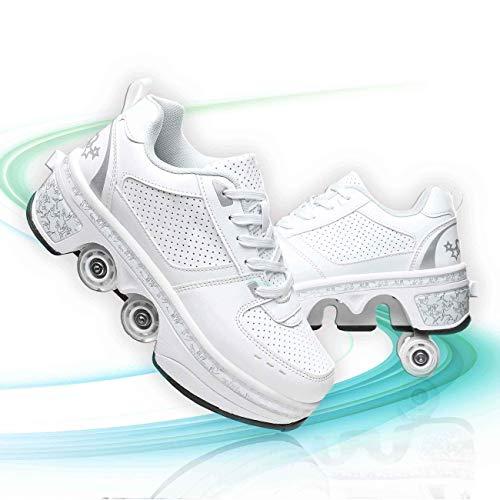 Patines De Patines De Ruedas Ajustables Rodillo Zapatos De Skate Zapatos Invisible De Polea De Zapatos para El Adulto Deportes Al Aire Libre De Deporte,Blanco,EU 40(US 9)