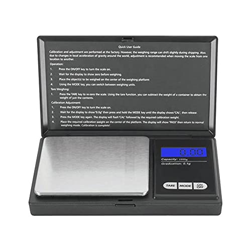 Portable Digital Scale for Food Jewelry Gold Silver Coin Herb Weed - Pocket Scale – 6 Mode Grams Ounces Grains Carets Deadweight & Troy Ounces Exact (50-Count)