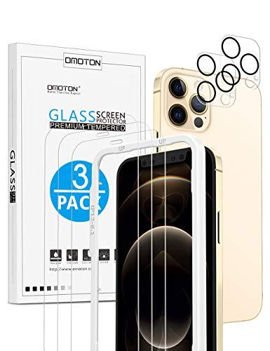 OMOTON für iPhone12 Pro Panzerglas mit Rahmen-Installationshilfe, kompatibel mit iPhone 12 Pro Kamera Panzerglasfolie, [3+2 Stück], [Anti- Kratzer], [Bläschenfrei], [9H Härte], [HD-Klar]
