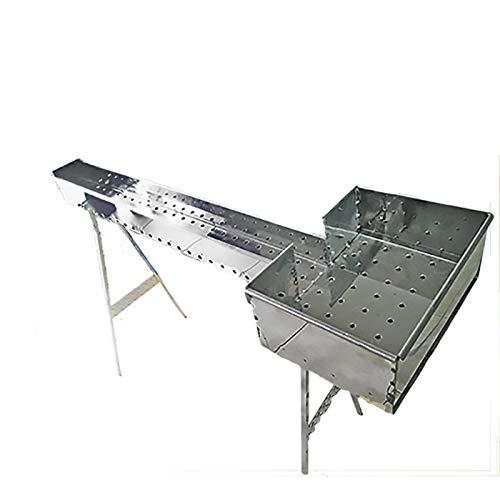 Mistermoby Barbecue Fornacella Inox 100 Cm Cuoci Arrosticini Spiedini e Testa 27X37 Cm Per Accensione Carbone e Grigliate