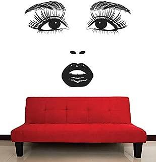 CreativeWallDecals Wall Decal Vinyl Sticker Decals Art Decor Design Beauty Salon Girl Face Eyes Lips Cosmetic Fashion Style Girls Bedroom Kids Children (r593)