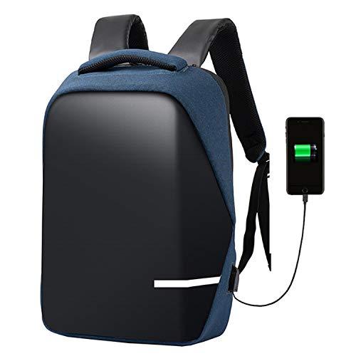 Rugzak voor dames en heren, USB-reisrugzak, waterdicht, voor laptop, 15 inch (38,1 cm), zwart/blauw/grijs, random color (blauw) - 666-888-999
