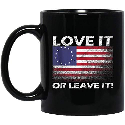 Betsy Ross Vlag USA Eerste Amerikaanse vlag hou van het of laat het 11 oz. Zwarte mok
