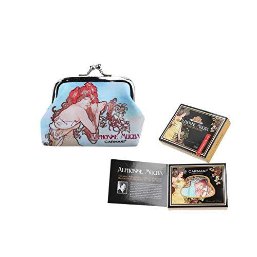 CARMANI - kleine dames gesp munten portemonnee met Alphonse Mucha