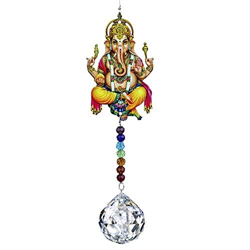 Colgante de cristal para colgar en la pared, diseño de elefante, Ganesha hindú