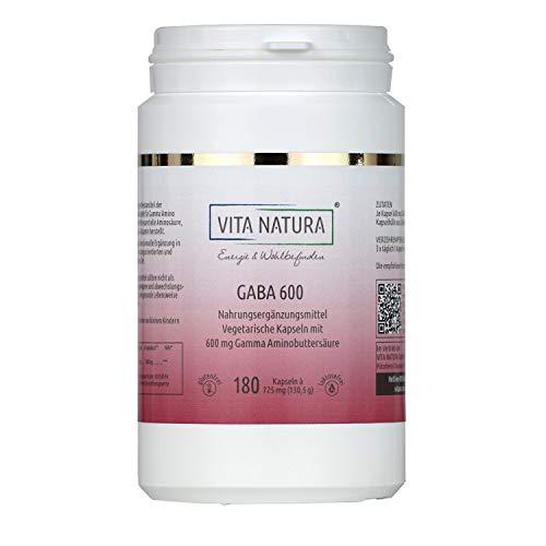 Vita Natura GABA 600 mg Gamma-Amino-Buttersäure Vegikapseln, 1er Pack (1 x 180 Stk.)