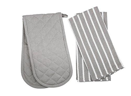 Penguin Home - 3 Piece Oven Glove & Tea Towel Set - 100 % Cotton Stylish Design & Colour - Soft & Durable - Machine Washable - Grey