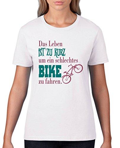 Comedy Shirts - Das Leben ist zu kurz um EIN schlechtes Bike zu Fahren - Damen T-Shirt - Weiss/Fuchsia-Türkis Gr. M