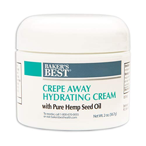 Baker's Best Crepe Away Hydrating Cream with Pure Hemp Seed Oil | Moisturizing, Anti-Aging Skin Cream for Saggy, Crepey Skin | Skin Tightening - 2 Ounce