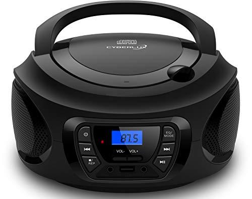 Tragbarer CD-Player | | CD/CD-R | USB | FM Radio | AUX-In | Kopfhöreranschluss | Kinder Radio | Boombox | CD-Radio | Stereoanlage | Kompaktanlage (Dark Knight Black)